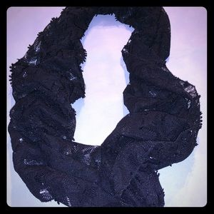 Black infinity crochet type scarf